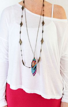 Faux Feather DIY Necklace    IMG_3618 by mealisab, via Flickr