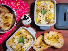 Ovos de codorna na cocote com queijo cottage