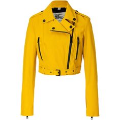 BURBERRY LONDON Leather Biker Jacket in Tourmaline Yellow (405 KWD) ❤ liked on Polyvore featuring outerwear, jackets, coats, leather jacket, coats & jackets, biker jacket, belted leather jacket, genuine leather jackets, yellow jacket and leather motorcycle jacket