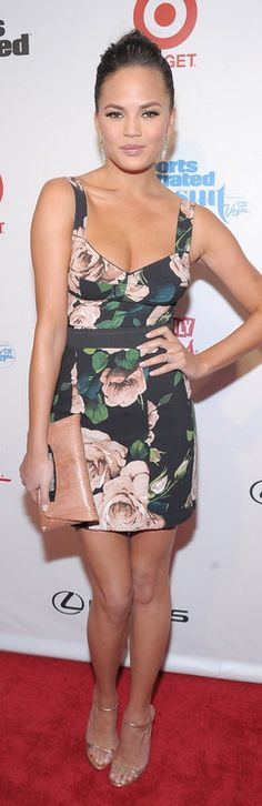 Who made Christine Teigen's floral dress that she wore in New York on February 12, 2013?