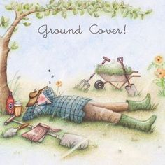 """Cards """" Ground Cover """" - Berni Parker Designs ღ✟ 50th Birthday Cards, Man Birthday, Decoupage, Art Impressions Stamps, Crazy Friends, Cool Cards, Anniversary Cards, Illustrators, Illustration Art"""