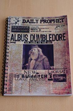"""Cuaderno anillado con tapa del diario El Profeta """"Recordando a Albus Dumbledore"""" #HarryPotter"""