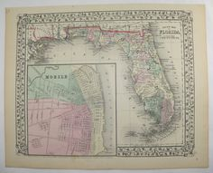 1871 Antique Map Florida State Map, Vintage Florida Gift, Mitchell Florida Map, Vacation Gift for Parents, 1st Anniversary Gift for Couple available from OldMapsandPrints.Etsy.com #Florida #MitrchellFloridaMap #OriginalAntiqueMapofFlorida