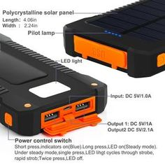Solar Power Bank Waterproof Solar Charger Dual USB Ports Portable External Battery Charger Solar Powerbank for Smartphone with LED Light Solar Battery Charger, External Battery Charger, Solar Power System, Iphone Charger, Portable Charger, Solar Energy, Solar Panels, Survival Guide