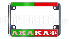 This Alpha Kappa Alpha and Kappa Alpha Psi split motorcycle tag frames all standard license plates for motor bikes. It has a Kelly green and red mirrored background with reflective Greek letters at the bottom.