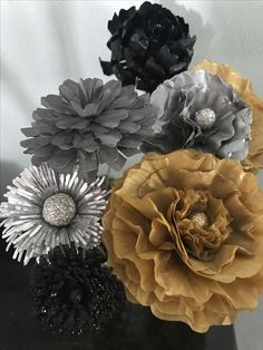 Paper flowers paper floral floral arrangement tissue paper flowers silver and gold New Year's Eve