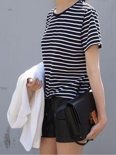 striped tee, white blazer, leather shorts & Celine box bag #style #fashion #stripes