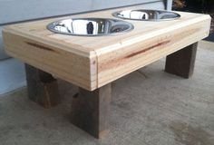 Items similar to Recycled pallet dog stand pet feeding station with 2 brand new stainless steel bowls.chestnut finish X W X T on Etsy Hidden Litter Boxes, Pet Station, Insulated Dog House, Recycling Station, Diy Dog Crate, Wood Creations, Baby Feeding, Pallet Furniture, Wood Pallets