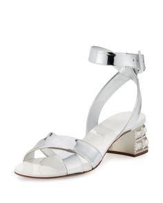 b5f4342a5 Metallic Leather Jewel-Heel Sandal Silver (Argento)