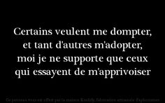 KRADIFY — Certains veulent me dompter, et tant d'autres. Witty Quotes, Words Quotes, Best Quotes, Love Quotes, Inspirational Quotes, Sayings, French Quotes, Pretty Words, My Mood