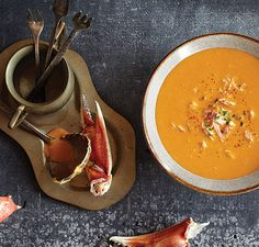 Red Pepper Crab Soup  1/4 cup (38 g) chopped onion 1 Tablespoon olive oil 1 cup (240 ml) chicken broth 1 cup (240 ml) half and half mixed with 1 Tablespoon all-purpose flour 3 (492 g) large red peppers, roasted 2 cups (270 g) imitation or fresh crab meat, cooked 1 Tablespoon lemon juice Pinch cayenne pepper 1/4 teaspoon salt