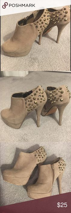 Aldo suede studded bootie Also suede bootie with spikes and studs. None missing. Inside zipper. Scuffs and marks shown in last photo. Offers always welcome! Aldo Shoes Ankle Boots & Booties