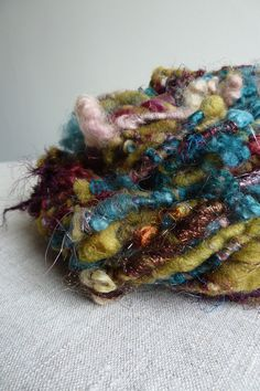 Handspun yarn art yarn corespun by Snowberrylime on Etsy, $45.00