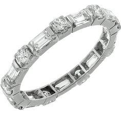 Estate 1.10ct Baguette & Round Cut Diamond Eternity 14k White Gold Wedding Band