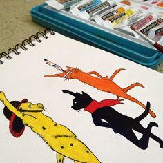 Jenny Linsky & Friends watercolor, Jun 2012