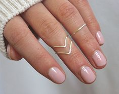Knuckle rings, midi rings, stacking rings, ring sets, midi ring A set of three knuckle rings! (2 chevron style and 1 band style) These are silver