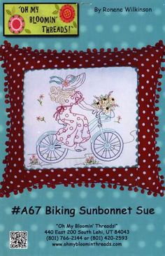 Biking Sunbonnet Sue Pillow - click here for more details about this PATTERNS