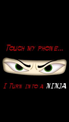 ↑↑TAP AND GET THE FREE APP! Lockscreens Touch My Phone I Turn into a Ninja Black Funny Eyes Unicolor HD iPhone 6 plus Wallpaper