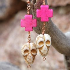 Skull Crosses Day of the Dead Handmade Earrings Halloween Jewelry OOAK | ShadowDogDesigns - Jewelry on ArtFire