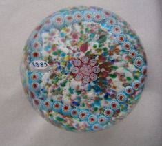 GORGEOUS Intricate MILLEFIORI Art Glass PAPERWEIGHT Incredibly EXQUISITE Colors