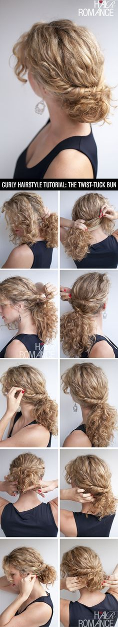 Hair Romance - curly hairstyle tutorial - the twist-tuck bun - Hairstyles & Haircuts Hair Romance Curly, Curly Hair Tips, Curly Hair Styles, Natural Hair Styles, Wavy Hair, Kinky Hair, Updo Curly, Curls Hair, Wedding Hairstyles Tutorial