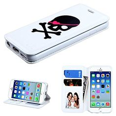 """myLife Luxury Design {Bifold} Magnetic Wallet for the NEW iPhone 6 (6G) 6th Generation Phone by Apple, 4.7"""" Inch {White, Pink and Black """"Cute Pirate Skull"""" Textured Faux Vegan Leather - Money, ID and Credit Card Holder Folio Design} myLife Brand Products http://www.amazon.com/dp/B00W5YFEZK/ref=cm_sw_r_pi_dp_NMemvb1S9A7V2"""