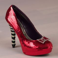 Wizard of Oz handmade shoes with Red Glitter heels &amp Yellow Brick