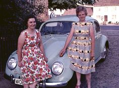 The Volkswagen Beetle attracts ladies. These two ladies in their summer dresses enjoyed posing with the Beetle. The prominent headlights were perfectly placed to keep the balance. The photo was taken in 1964 in Lehre, a small town south of Wolfsburg, Germany.