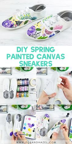 Welcome spring with these funky & fun painted canvas sneakers! Release your inner artists & brighten up your wardrobe! Painted Canvas Shoes, Painted Sneakers, Canvas Sneakers, Painted Vans, Painted Clothes, Easy Diy Crafts, Diy Craft Projects, Craft Tutorials, Craft Ideas