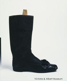 Victoria and Albert Museum Opera boots knee kigh, black, opera shoes, leather. Black Leather Boots, Black Shoes, Dress With Boots, Dress Shoes, Victorian Shoes, Victorian Era, Mens Designer Shoes, Mens Attire, Victoria And Albert Museum