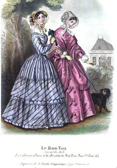 Le Bon Ton (Published in the Lady's Magazine), 1849.  Oh my god that striped dress!  It is so lovely!  Having the ruffles cut on the bias is a nice touch!