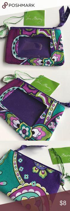 NWT Vera Bradley Zip ID Case 💜 NWT Vera Bradley Zip ID case in Heather. Vera Bradley Bags Clutches & Wristlets