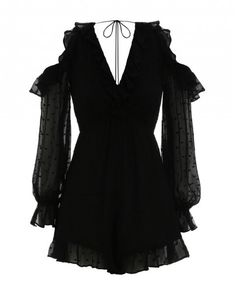 Prima Frill Playsuit, from our Resort Swim 18 assortment, in Noir silk crinkle georgette with dot em Kpop Fashion Outfits, Stage Outfits, Mode Outfits, Fashion Dresses, Gothic Fashion, High Fashion, Womens Fashion, Kpop Mode, Gothic Mode