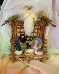 Nativity Scene -- needle felted in New Zealand wool Nativity Ornaments, Nativity Crafts, Felt Christmas Ornaments, Christmas Nativity, Christmas Crafts, Nativity Scenes, Christmas Bells, Christmas Printables, Nativity Stable