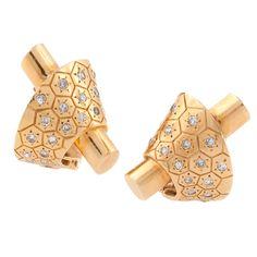 """1936 French """"Ludo Hexagone"""" Earrings by Van Cleef & Arpels"""
