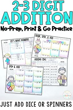 Use these no-prep, print and go 2-3 digit addition printables