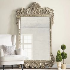 Astoria Grand Astoria Grand's Traditional Beveled Full-Length Mirror features a large, oversized rectangular frame decorated with a dramatically ornate design. The frame is then painted with an antique silver finish. Perfect for leaning against a wall. Wood Framed Mirror, Round Wall Mirror, Mirror Mirror, Entry Mirror, Entry Wall, Full Length Mirror Wayfair, Leaning Mirror, Bohemian Chic Decor, Dream Rooms