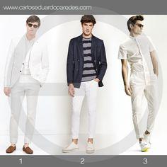 Si te gusta vestir de blanco o incorporar prendas en este tono para las celebraciones de fin de año, te comparto 3 alternativas. ¿Cuál es tu favorita? ¿1, 2 ó 3? #ModaMasculina