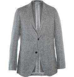 Richard James Grey Spirit Slim-Fit Unstructured Cotton and Linen-Blend Blazer | MR PORTER