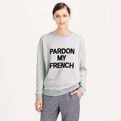 "<i>Excusez-moi,</i> but this might be the coolest sweatshirt we've ever seen—lightweight, slouchy and heathery soft. <ul><li>Oversize fit.</li><li>Body length: 25 3/4"".</li><li>Cotton/poly.</li><li>Machine wash.</li><li>Import.</li><li>Online only.</li></ul>"