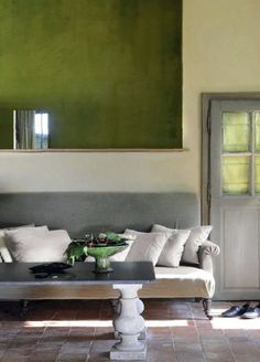Green wall colors accent this space. Cozy Living Rooms, Home And Living, Living Spaces, Wall Colors, House Colors, Salons Cosy, Doors And Floors, Home And Deco, Green And Grey