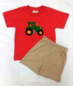 Luigi Kids - Coral T-Shirt w/Tractor Applique & Sand Jersey Shorts - sizes:  2T & 3T