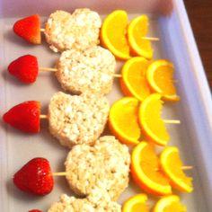 Valentine Snack w/ strawberries, rice krispie treats & orange slices