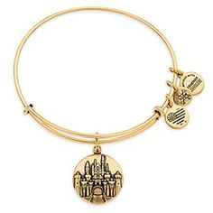 Sleeping Beauty Castle Bangle by Alex and Ani - Disneyland - Gold | Disney Store Sleeping Beauty Castle is detailed in bas relief on this gold tone bangle by Alex and Ani. An elegant reminder of your Disneyland visit, it's ''infused with the power of positive energy,'' and its sliding mechanism ensures a perfect fit