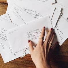 Addressing envelopes with modern calligraphy #calligraphy #envelopes #weddingstationery