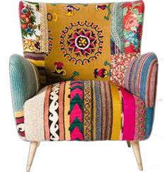 | boho patchwork chair. I have chairs the exact same shape, Im completely in LOVE with the idea of patchwork over top of the fabric already there!!!!