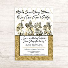 Vintage Inspired Bachelorette Party Invitation by LilygramDesigns