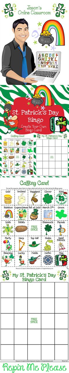 This FREEBIE includes 24 St. Patrick's Day related images and 1 Bingo card TEMPLATE to be used by students to CREATE THEIR OWN Bingo card (create their own luck). After teaching about St. Patrick's Day, this can be used as a fun way to wrap up the lesson.
