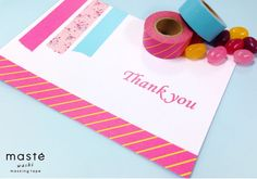 Thank you card made with masté washi masking tape simple MARK'S Tokyo Edge craft idea design stationery