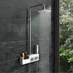 Orchard Chime white shower riser rail kit with shelf Bathroom Ideas Uk, Bathroom Renovations, Bathrooms, Bathroom Wall, Bathroom Inspiration, Shower Diverter, Shower Valve, Black Sofa Decor, Black Outdoor Wall Lights